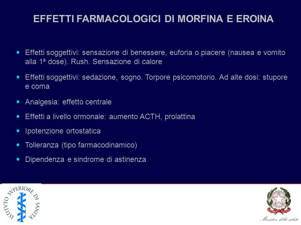 EFFETTI FARMACOLOGICI DI MORFINA E EROINA Effetti soggettivi: sensazione di benessere, euforia o piacere (nausea e vomito alla 1ª dose).