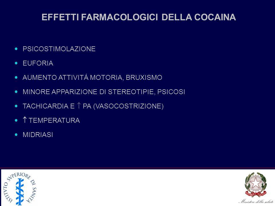 EFFETTI FARMACOLOGICI DELLA COCAINA PSICOSTIMOLAZIONE EUFORIA AUMENTO ATTIVITÁ MOTORIA, BRUXISMO MINORE APPARIZIONE DI STEREOTIPIE, PSICOSI TACHICARDIA E PA (VASOCOSTRIZIONE) TEMPERATURA MIDRIASI