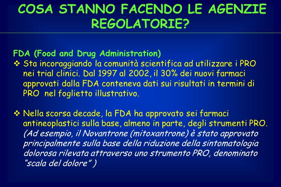 COSA STANNO FACENDO LE AGENZIE REGOLATORIE? FDA (Food and Drug Administration) Sta incoraggiando la comunità scientifica ad utilizzare i PRO nei trial