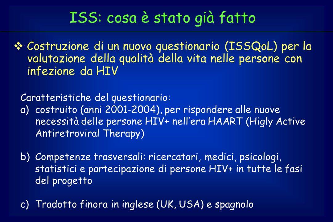 Costruzione di un nuovo questionario (ISSQoL) per la valutazione della qualità della vita nelle persone con infezione da HIV Caratteristiche del quest