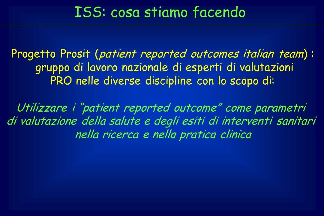 ISS: cosa stiamo facendo Progetto Prosit (patient reported outcomes italian team) : gruppo di lavoro nazionale di esperti di valutazioni PRO nelle div