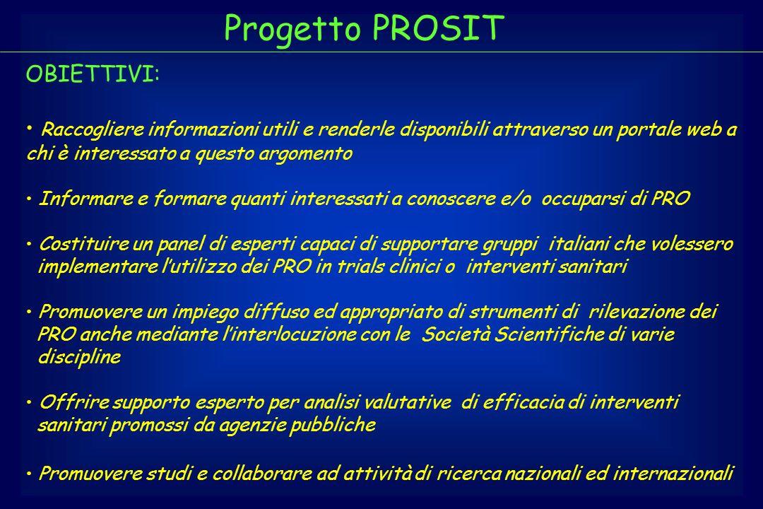 Progetto PROSIT OBIETTIVI: Raccogliere informazioni utili e renderle disponibili attraverso un portale web a chi è interessato a questo argomento Info