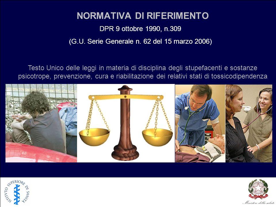 NORMATIVA DI RIFERIMENTO Testo Unico delle leggi in materia di disciplina degli stupefacenti e sostanze psicotrope, prevenzione, cura e riabilitazione