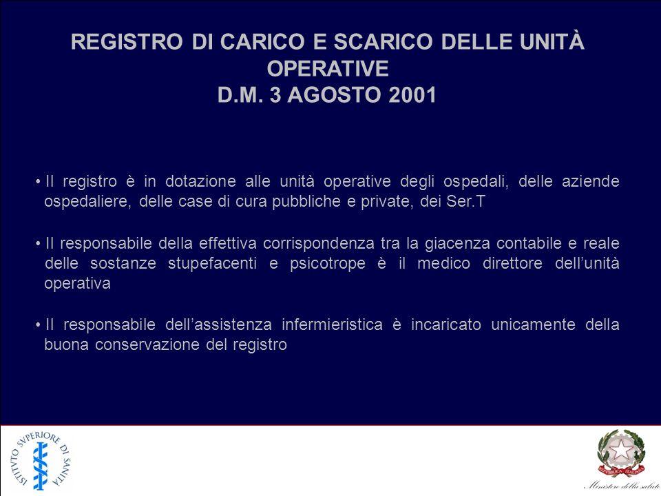 REGISTRO DI CARICO E SCARICO DELLE UNITÀ OPERATIVE D.M. 3 AGOSTO 2001 Il registro è in dotazione alle unità operative degli ospedali, delle aziende os