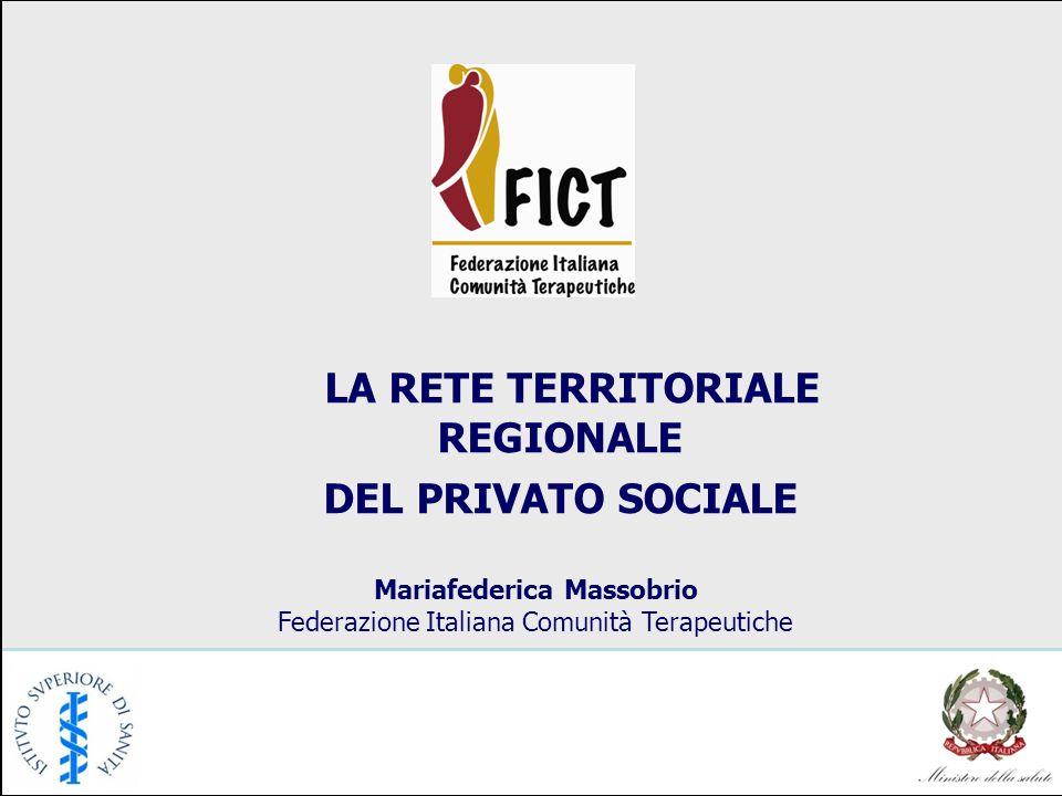 LA RETE TERRITORIALE REGIONALE DEL PRIVATO SOCIALE Mariafederica Massobrio Federazione Italiana Comunità Terapeutiche