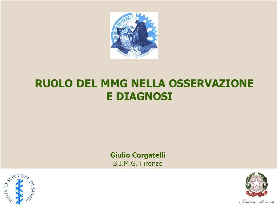 RUOLO DEL MMG NELLA OSSERVAZIONE E DIAGNOSI Giulio Corgatelli S.I.M.G. Firenze