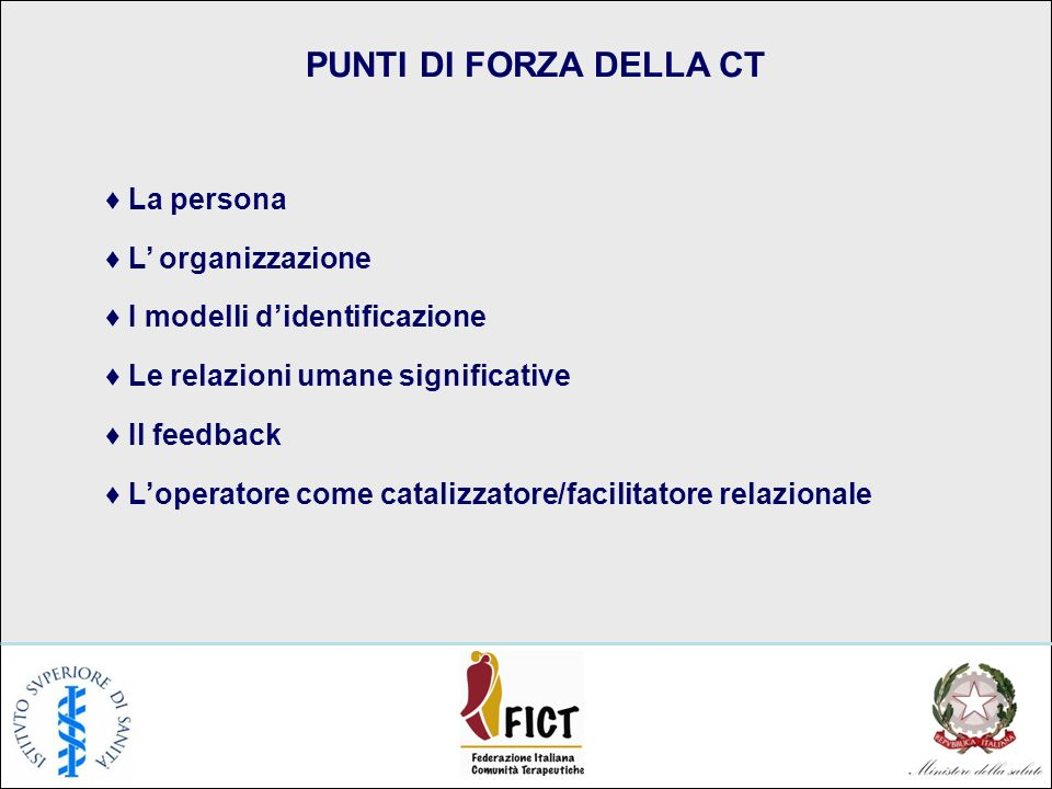 PUNTI DI FORZA DELLA CT La persona L organizzazione I modelli didentificazione Le relazioni umane significative Il feedback Loperatore come catalizzatore/facilitatore relazionale