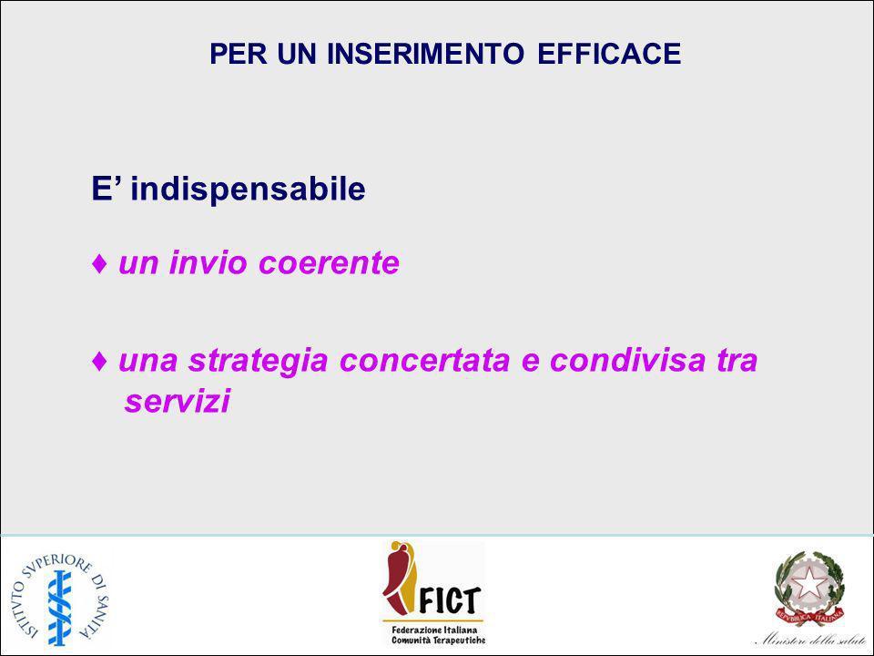 PER UN INSERIMENTO EFFICACE E indispensabile un invio coerente una strategia concertata e condivisa tra servizi
