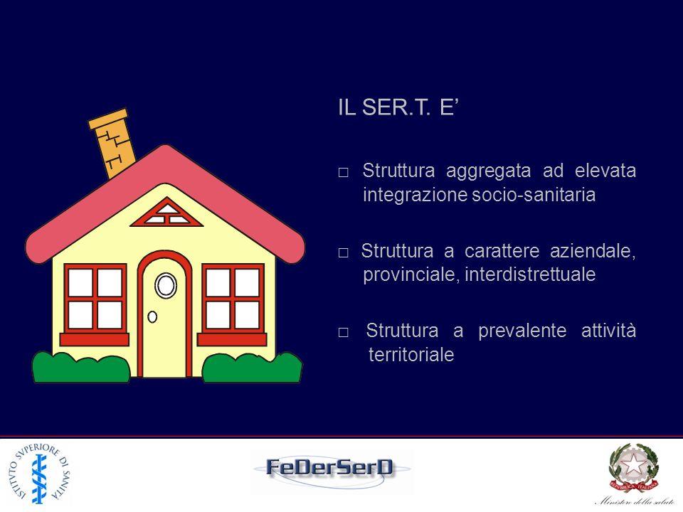 IL SER.T. E Struttura aggregata ad elevata integrazione socio-sanitaria Struttura a carattere aziendale, provinciale, interdistrettuale Struttura a pr