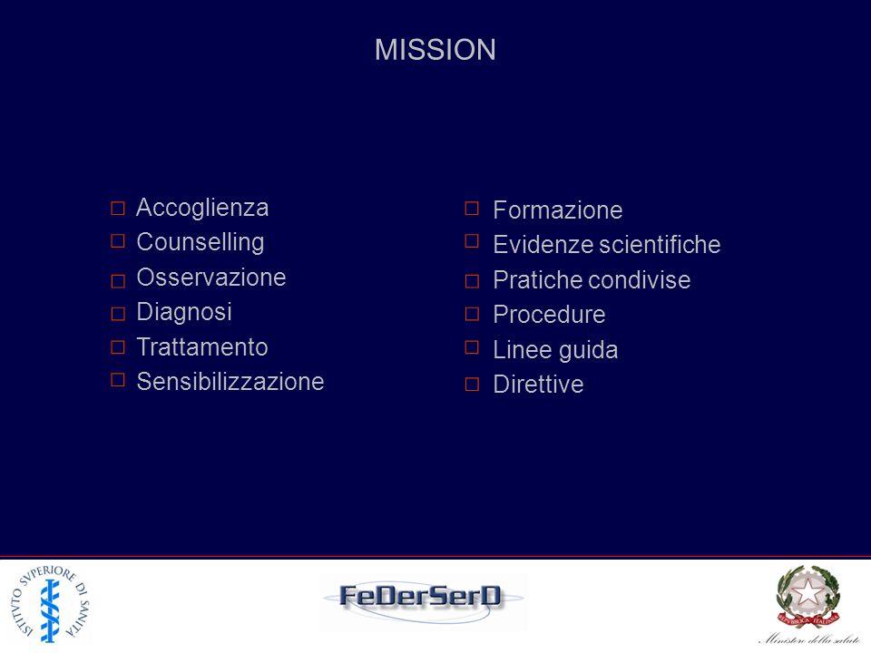 Accoglienza Counselling Osservazione Diagnosi Trattamento Sensibilizzazione Formazione Evidenze scientifiche Pratiche condivise Procedure Linee guida