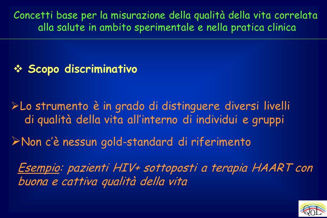 Scopo discriminativo Lo strumento è in grado di distinguere diversi livelli di qualità della vita allinterno di individui e gruppi Non cè nessun gold-
