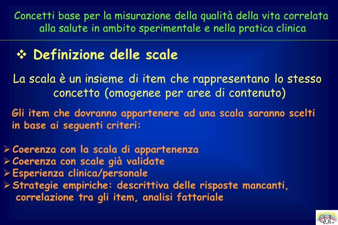 Definizione delle scale La scala è un insieme di item che rappresentano lo stesso concetto (omogenee per aree di contenuto) Gli item che dovranno appa