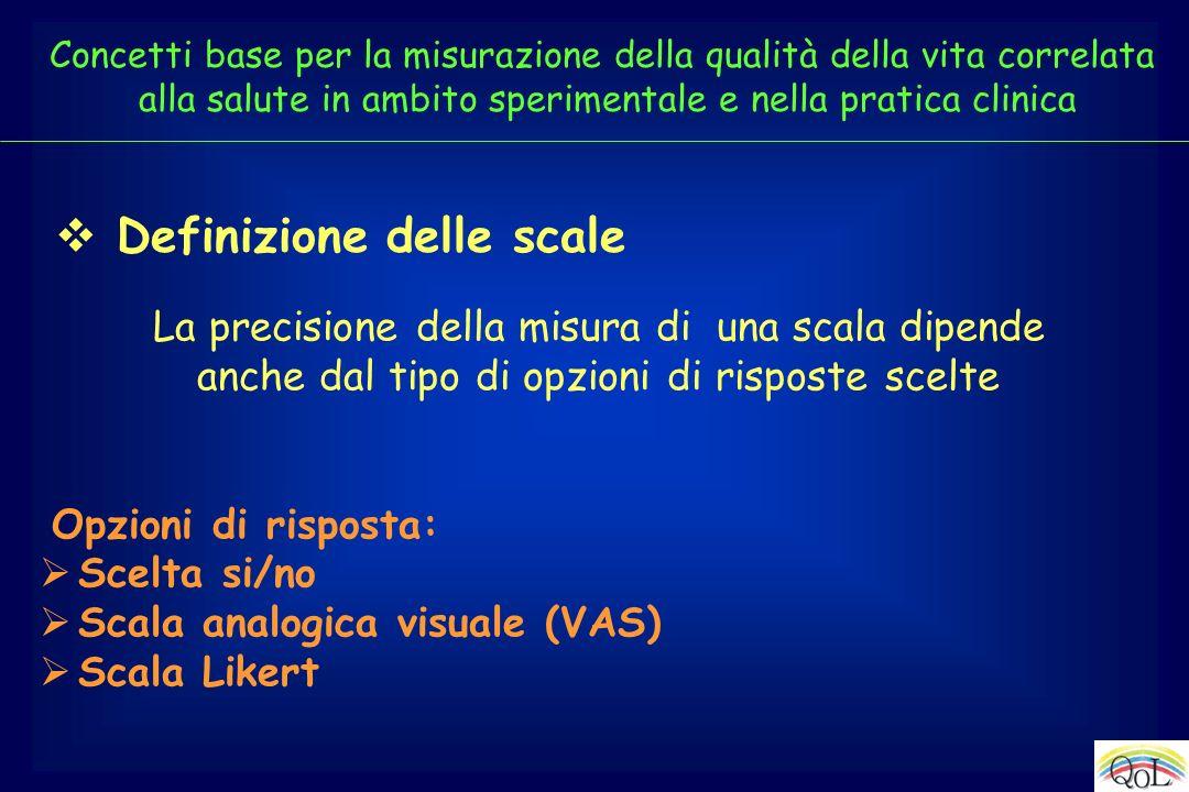 La precisione della misura di una scala dipende anche dal tipo di opzioni di risposte scelte Opzioni di risposta: Scelta si/no Scala analogica visuale