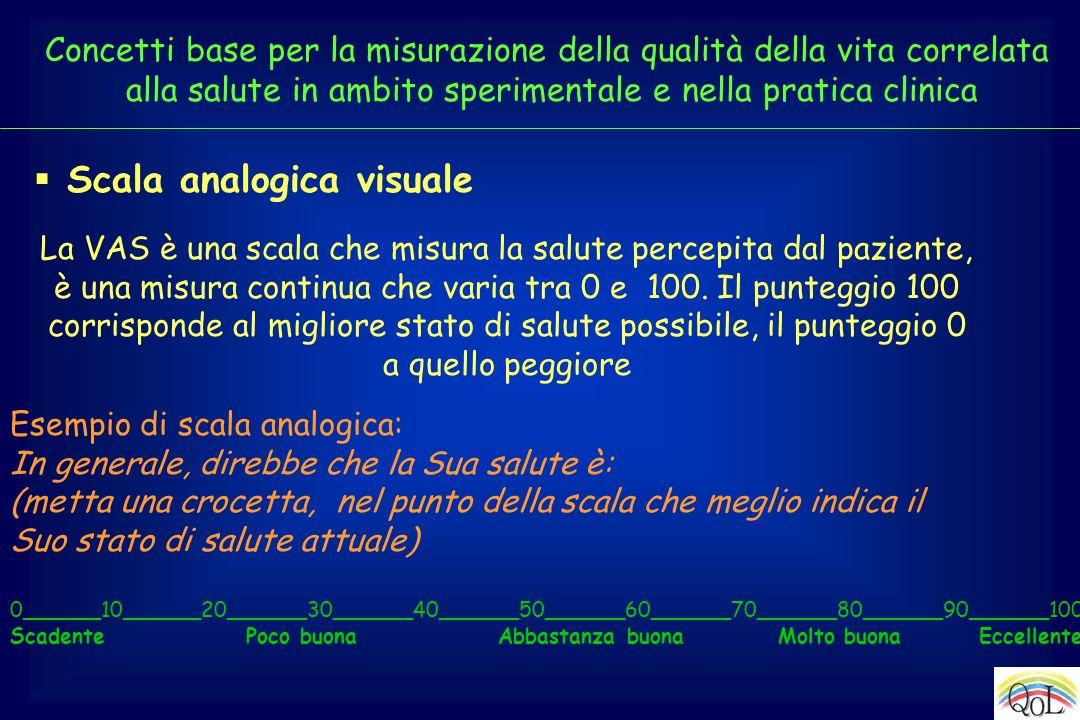 Scala analogica visuale Esempio di scala analogica: In generale, direbbe che la Sua salute è: (metta una crocetta, nel punto della scala che meglio in