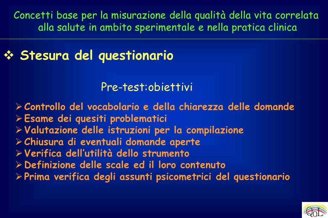 Controllo del vocabolario e della chiarezza delle domande Esame dei quesiti problematici Valutazione delle istruzioni per la compilazione Chiusura di