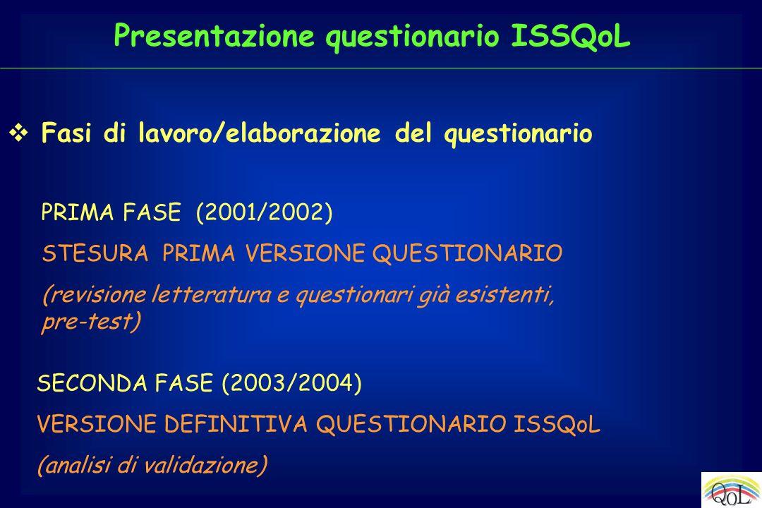 Fasi di lavoro/elaborazione del questionario PRIMA FASE (2001/2002) STESURA PRIMA VERSIONE QUESTIONARIO (revisione letteratura e questionari già esist