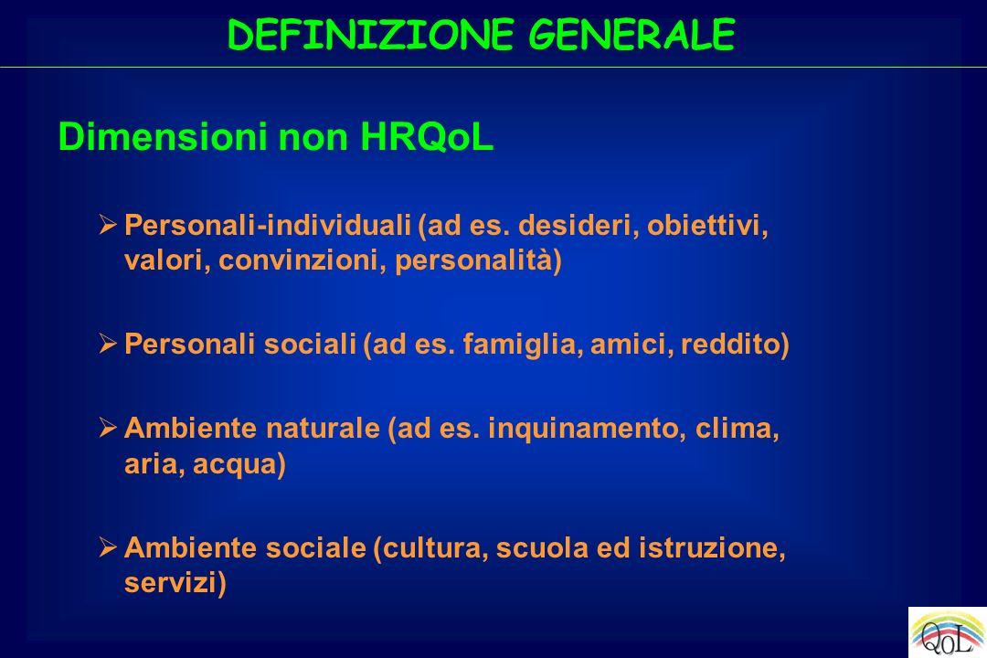 DEFINIZIONE GENERALE Personali-individuali (ad es. desideri, obiettivi, valori, convinzioni, personalità) Personali sociali (ad es. famiglia, amici, r