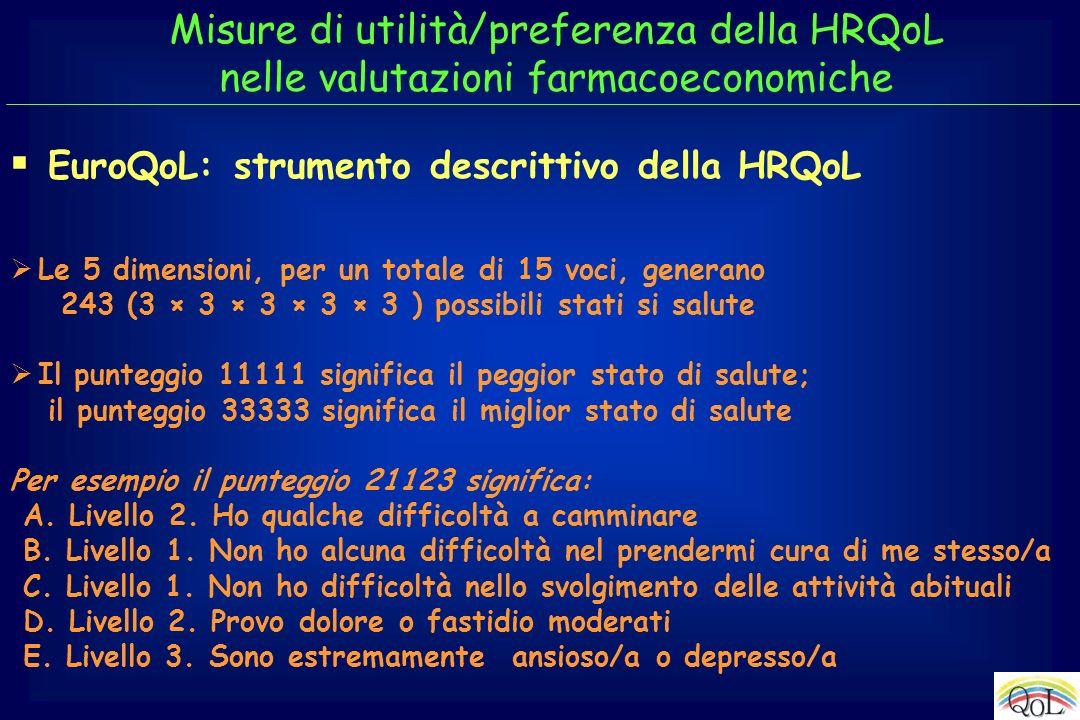 EuroQoL: strumento descrittivo della HRQoL Le 5 dimensioni, per un totale di 15 voci, generano 243 (3 × 3 × 3 × 3 × 3 ) possibili stati si salute Il p