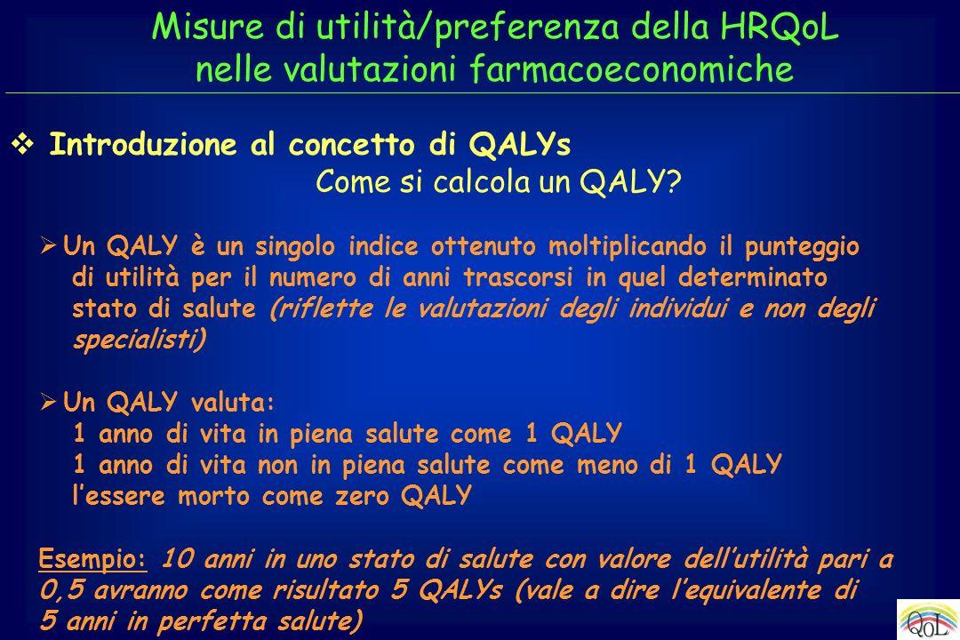 Un QALY è un singolo indice ottenuto moltiplicando il punteggio di utilità per il numero di anni trascorsi in quel determinato stato di salute (riflet