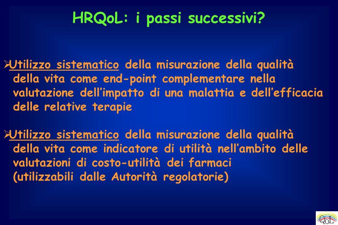 HRQoL: i passi successivi? Utilizzo sistematico della misurazione della qualità della vita come end-point complementare nella valutazione dellimpatto