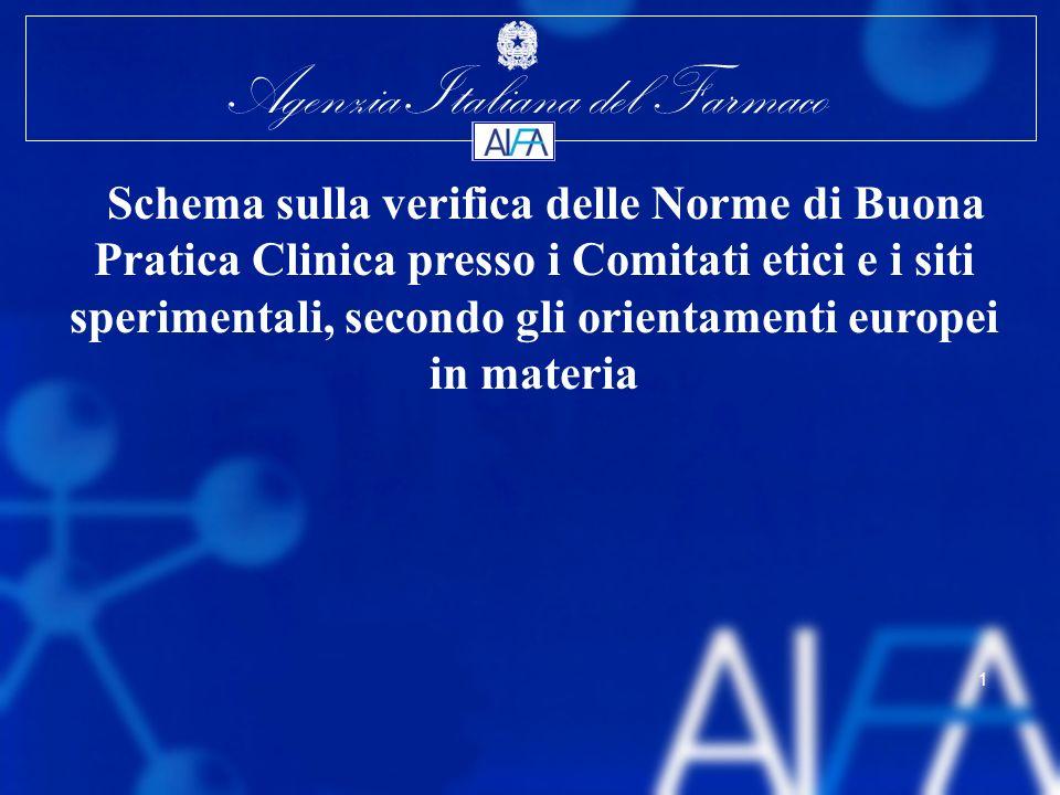 Agenzia Italiana del Farmaco 1 Schema sulla verifica delle Norme di Buona Pratica Clinica presso i Comitati etici e i siti sperimentali, secondo gli o