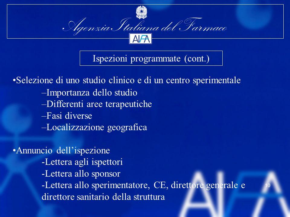 Agenzia Italiana del Farmaco 10 Selezione di uno studio clinico e di un centro sperimentale –Importanza dello studio –Differenti aree terapeutiche –Fa