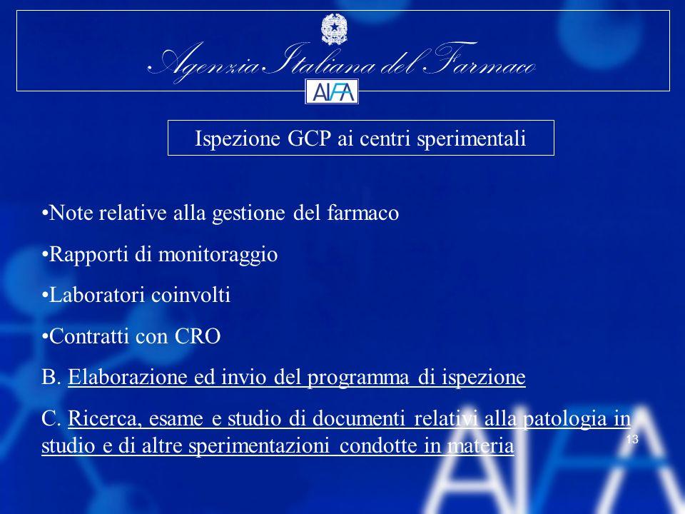 Agenzia Italiana del Farmaco 13 Note relative alla gestione del farmaco Rapporti di monitoraggio Laboratori coinvolti Contratti con CRO B. Elaborazion
