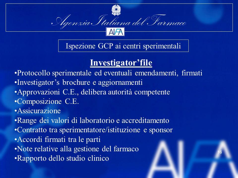 Agenzia Italiana del Farmaco 16 Investigatorfile Protocollo sperimentale ed eventuali emendamenti, firmati Investigators brochure e aggiornamenti Appr