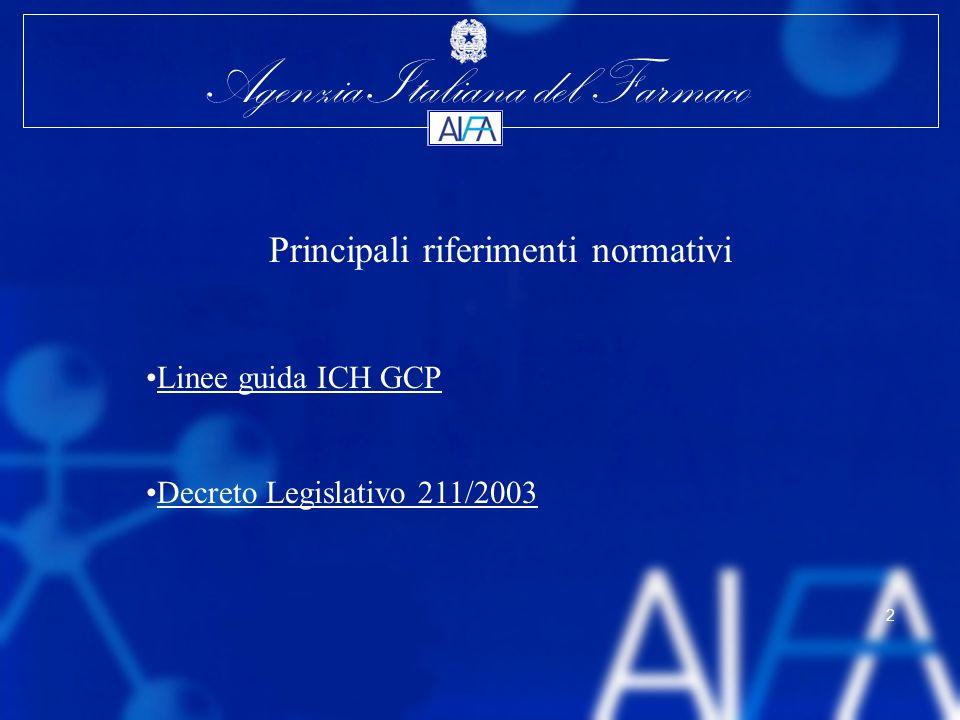 Agenzia Italiana del Farmaco 3 Linee guida ICH-GCP (D.M.