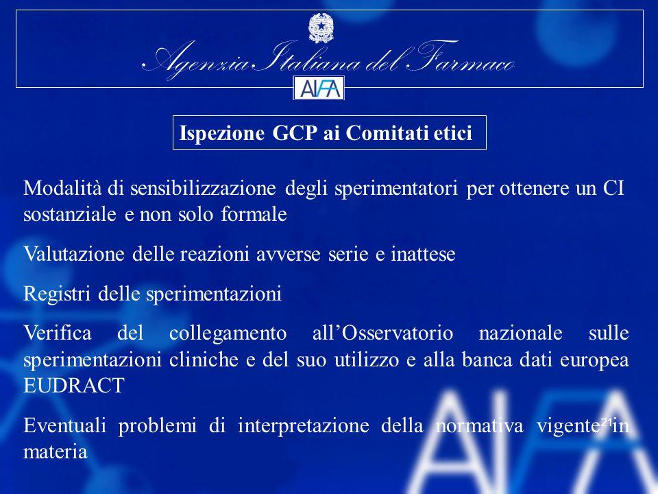 Agenzia Italiana del Farmaco 21 Modalità di sensibilizzazione degli sperimentatori per ottenere un CI sostanziale e non solo formale Valutazione delle