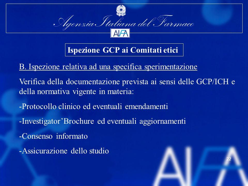 Agenzia Italiana del Farmaco 22 B. Ispezione relativa ad una specifica sperimentazione Verifica della documentazione prevista ai sensi delle GCP/ICH e