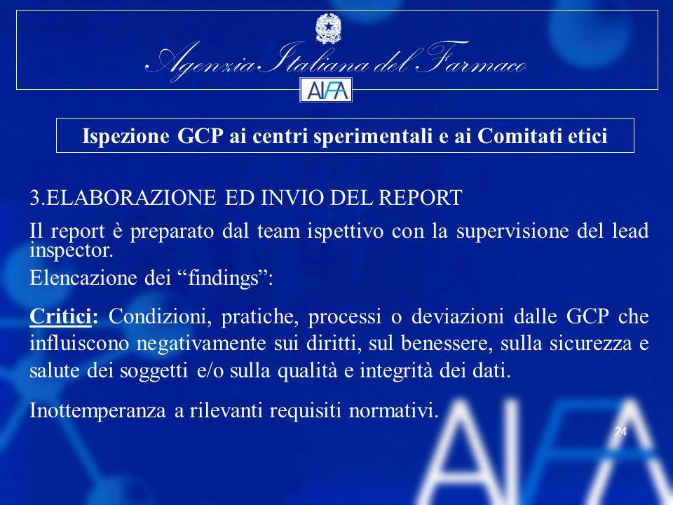 Agenzia Italiana del Farmaco 24 3.ELABORAZIONE ED INVIO DEL REPORT Il report è preparato dal team ispettivo con la supervisione del lead inspector. El