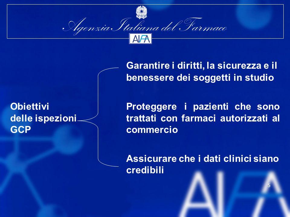 Agenzia Italiana del Farmaco 5 Garantire i diritti, la sicurezza e il benessere dei soggetti in studio Obiettivi Proteggere i pazienti che sono delle