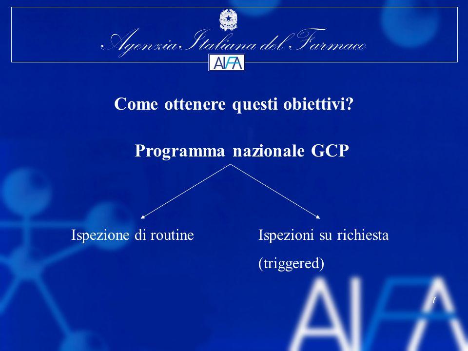 Agenzia Italiana del Farmaco 7 Come ottenere questi obiettivi? Programma nazionale GCP Ispezione di routineIspezioni su richiesta (triggered)