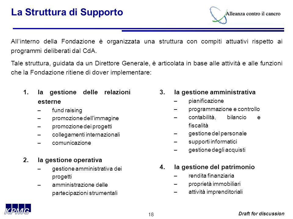 18 Draft for discussion La Struttura di Supporto Allinterno della Fondazione è organizzata una struttura con compiti attuativi rispetto ai programmi deliberati dal CdA.