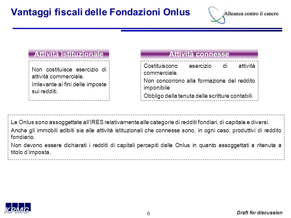 6 Draft for discussion Vantaggi fiscali delle Fondazioni Onlus Attività istituzionaleAttività connesse Non costituisce esercizio di attività commerciale.