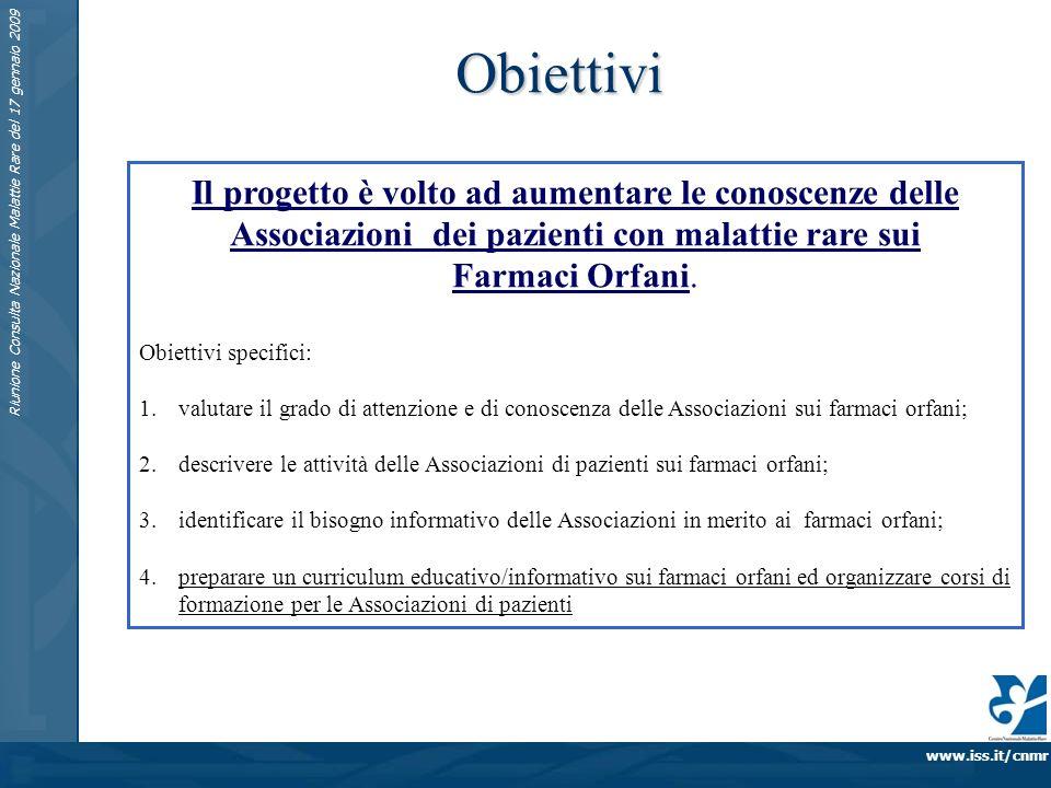 www.iss.it/cnmr Riunione Consulta Nazionale Malattie Rare del 17 gennaio 2009 Obiettivi Il progetto è volto ad aumentare le conoscenze delle Associazioni dei pazienti con malattie rare sui Farmaci Orfani.