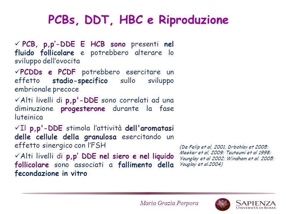 Maria Grazia Porpora PCB, p,p-DDE E HCB sono presenti nel fluido follicolare e potrebbero alterare lo sviluppo dellovocita PCDDs e PCDF potrebbero esercitare un effetto stadio-specifico sullo sviluppo embrionale precoce Alti livelli di p,p -DDE sono correlati ad una diminuzione progesterone durante la fase luteinica Il p,p -DDE stimola lattività dell aromatasi delle cellule della granulosa esercitando un effetto sinergico con lFSH Alti livelli di p,p DDE nel siero e nel liquido follicolare sono associati a fallimento della fecondazione in vitro PCBs, DDT, HBC e Riproduzione (De Felip et al, 2001, Drbohlav et 2005; Meeker et al, 2009; Tsutsumi et al 1998; Younglay et al 2002; Windham et al.