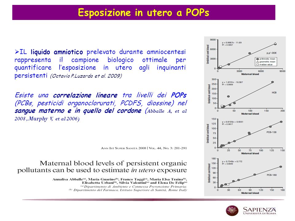 28 Esposizione in utero a POPs IL liquido amniotico prelevato durante amniocentesi rappresenta il campione biologico ottimale per quantificare lesposizione in utero agli inquinanti persistenti (Octavio P.Luzardo et al.