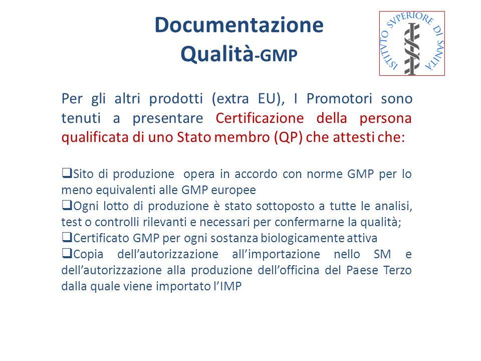 Documentazione Qualità -GMP Per gli altri prodotti (extra EU), I Promotori sono tenuti a presentare Certificazione della persona qualificata di uno St