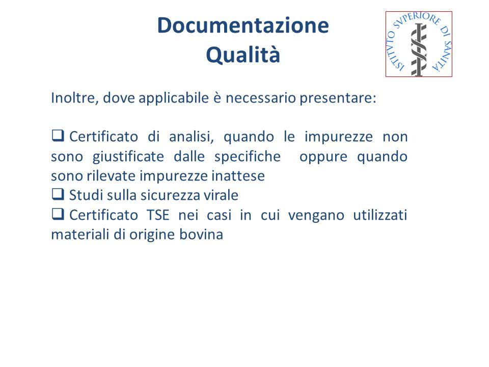 Documentazione Qualità Inoltre, dove applicabile è necessario presentare: Certificato di analisi, quando le impurezze non sono giustificate dalle spec