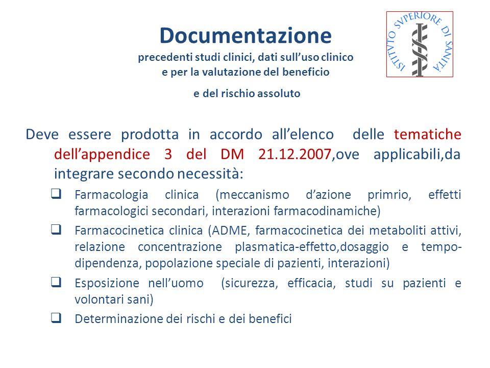 Deve essere prodotta in accordo allelenco delle tematiche dellappendice 3 del DM 21.12.2007,ove applicabili,da integrare secondo necessità: Farmacolog