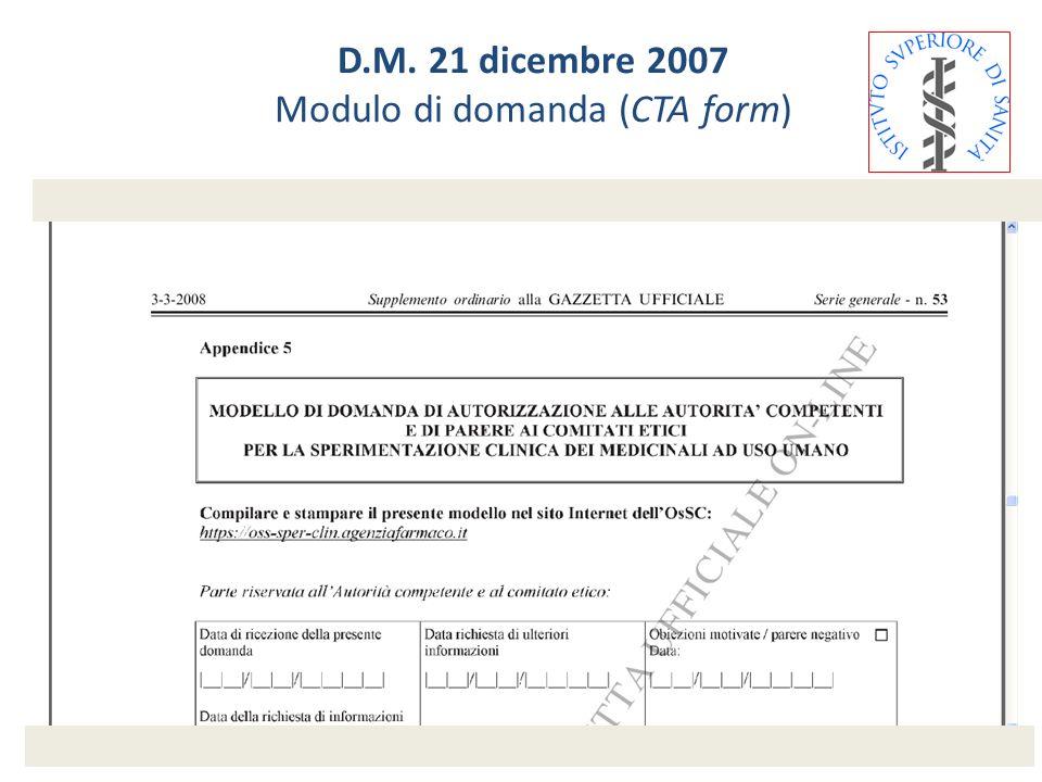 D.M. 21 dicembre 2007 Modulo di domanda (CTA form)