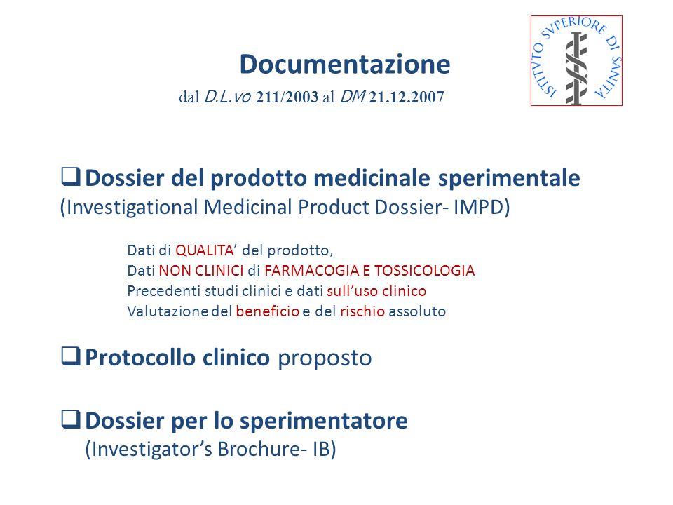 DM 21.12.2007 Documentazione IMPD Il Promotore è tenuto ad inviare, per quanto possibile, le informazioni richieste nellIMPD completo suddivise secondo le tematiche elencate: nellAppendice 1 (qualità) nellAppendice 2 (dati non clinici) nellAppendice 3 (dati clinici:precedenti esp.)
