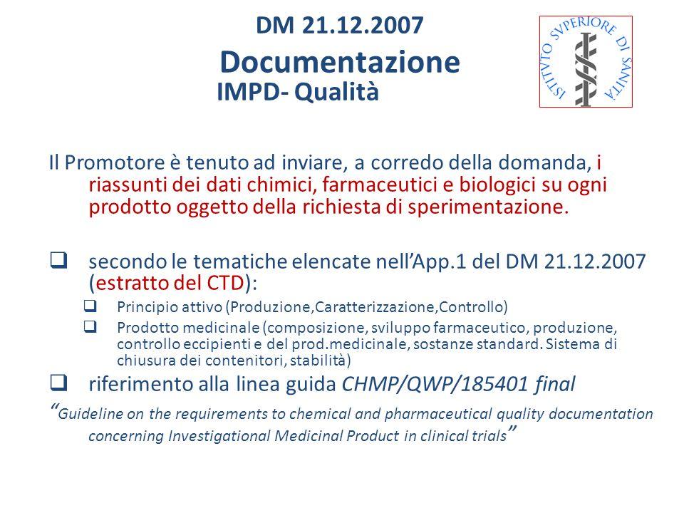 IMPD- Qualità Il Promotore è tenuto ad inviare, a corredo della domanda, i riassunti dei dati chimici, farmaceutici e biologici su ogni prodotto ogget