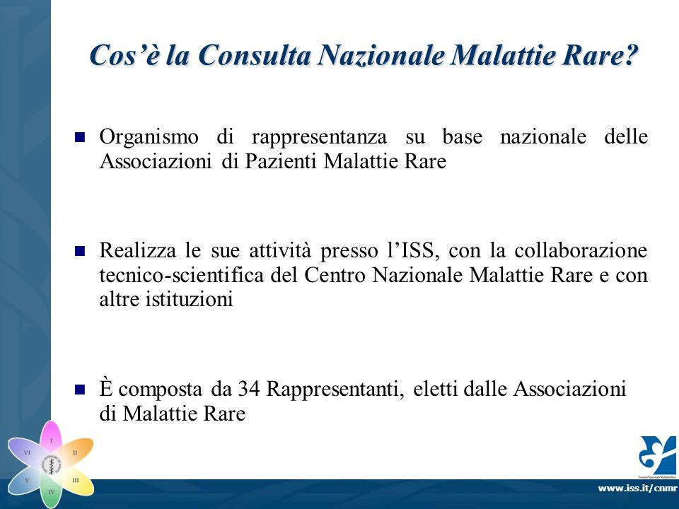 www.iss.it/cnmr Cosè la Consulta Nazionale Malattie Rare? Organismo di rappresentanza su base nazionale delle Associazioni di Pazienti Malattie Rare R