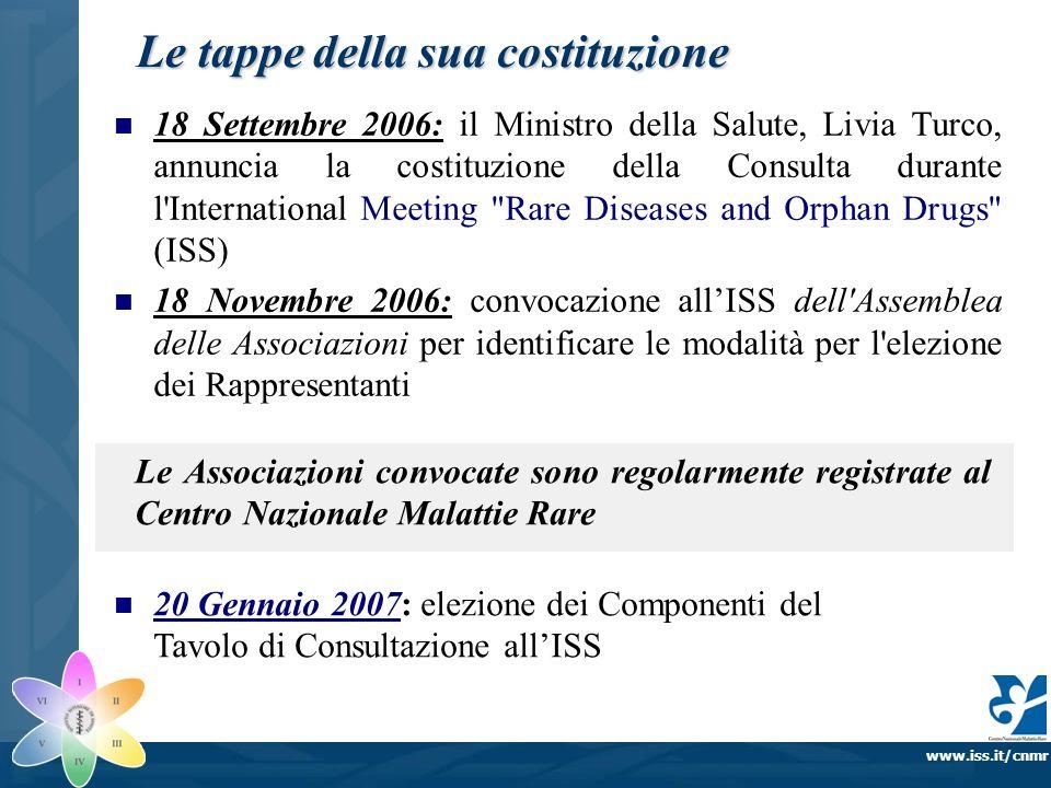 www.iss.it/cnmr Le tappe della sua costituzione 18 Settembre 2006: il Ministro della Salute, Livia Turco, annuncia la costituzione della Consulta dura