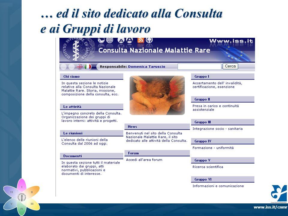 www.iss.it/cnmr … ed il sito dedicato alla Consulta e ai Gruppi di lavoro