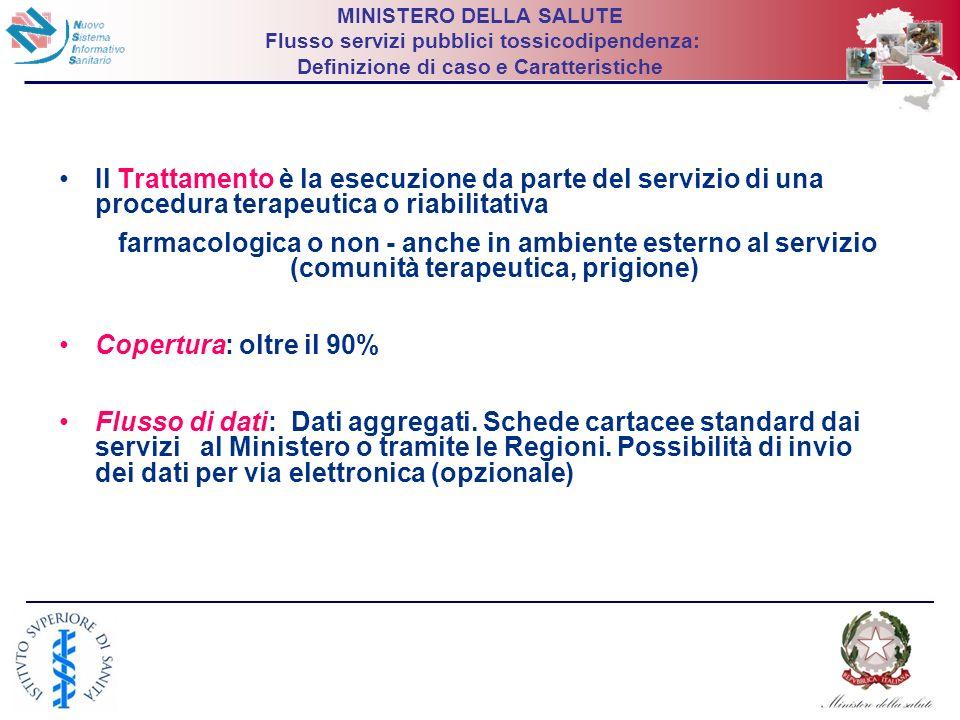 14 MINISTERO DELLA SALUTE Flusso servizi pubblici tossicodipendenza: Definizione di caso e Caratteristiche Il Trattamento è la esecuzione da parte del