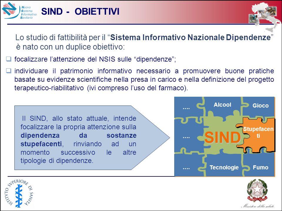 4 SIND - OBIETTIVI Lo studio di fattibilità per il Sistema Informativo Nazionale Dipendenze è nato con un duplice obiettivo: focalizzare lattenzione d